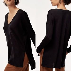 ARITZIA BABATON Black V Neck Erin Sweater